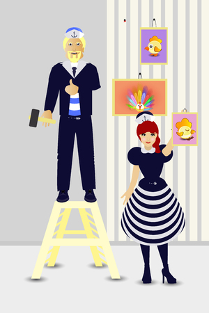 Repairs. Hang pictures of the photo. Marine theme. People are a guy and a girl sailors. Isolated on white background. Vector illustration for your design. Illustration