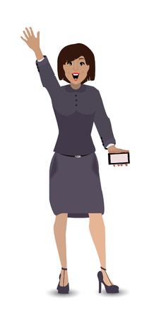 smart girl: Man girl greeting hand up smart phone Illustration