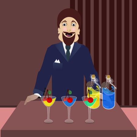 カクテル ボトルを飲む男性
