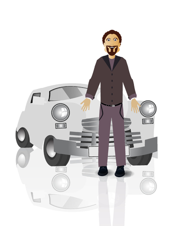 Retro car driver man on white easy to separate background for your design