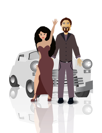 reno: Retro car with lovers on white easy to separate background for your design Illustration