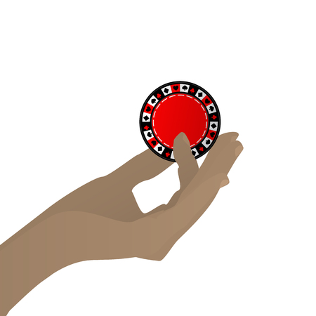 The hand to hold the casino chip game is a victory. Illustration on white easy to separate background for your design Illustration