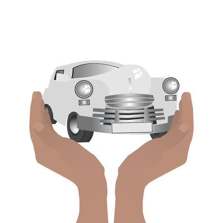 keep your hands: Retro car. Keep hands guard. Illustration on white easy to separate background for your design Illustration