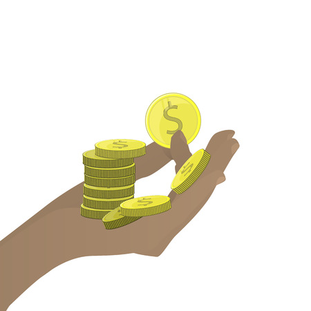 HAND COINS A LOT OF US Dollars HOLD ON A WHITE BACKGROUND. Illustration for your design. Illustration