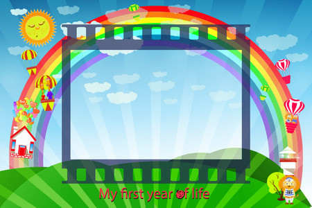 Frame for the child. Frame of a movie tape landscape of a green meadow with a rainbow. Vector illustration for your design