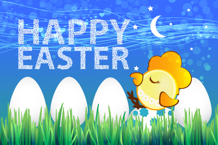 Easter eggs icon. illustration. Easter eggs for design of Easter holidays on a blue background with bird sleeping. Illustration