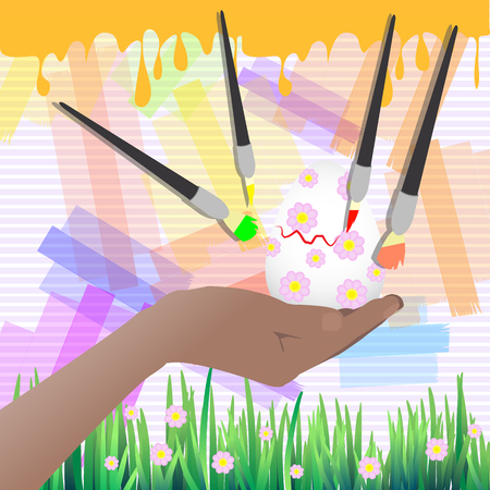 Easter is happy. To paint an egg symbol in a flower. Vector for your design Illustration