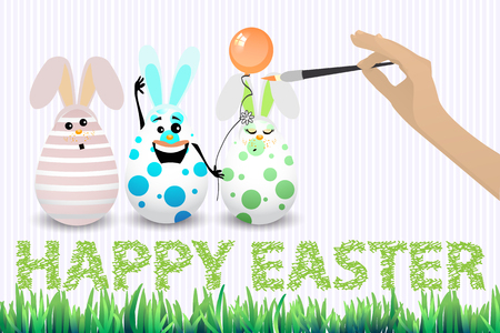 chocolate egg: Easter happy three eggs funny brush hand draw on white background isolated vector for your design Illustration