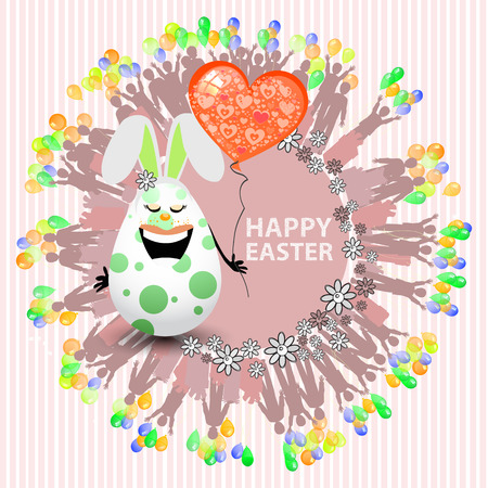 Easterly happy egg sweet girl with a balloon in the shape of a heart. Vector for your design