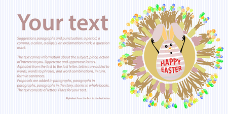 Easter. Place for your text. Rabbit egg hands up