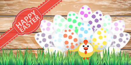 juggle: Happy easter chicken circus strongman many eggs on a wooden fence background. Illustration for your design. Illustration