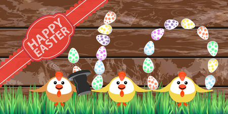 juggle: Happy easter chicken circus on a wooden fence background. Illustration for your design.