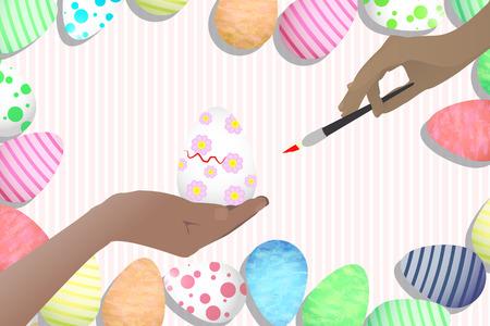 Ilustración Linda De Pascua Para Su Diseño. Huevo De Pascua - En Una ...