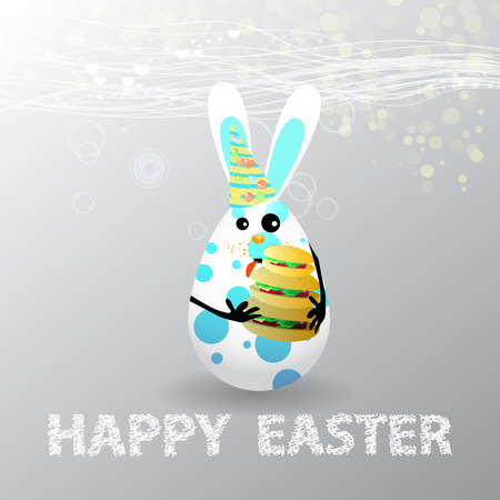 overeat: Easter. Egg-rabbit funny with faces illustration for your design. Rabbit cute with triple burger overeat Illustration