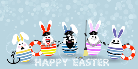 Easter. Eggs-rabbits are funny with faces illustration for your design. Seamen with the captain at the head.