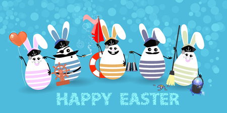 Easter. Eggs-rabbits are funny with faces illustration for your design. Sailors with balloon, flag, cleaning