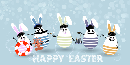 Easter. Eggs-rabbits are funny with faces illustration for your design. Sailors with steering wheel, life ring, binoculars