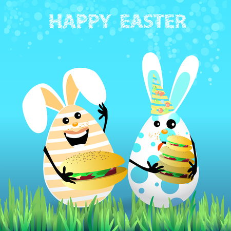 Cute bright easter illustration for your design. Cartoon two funny eggs - rabbits celebrate a holiday on the lawn picnic hamburgers licking the tongue