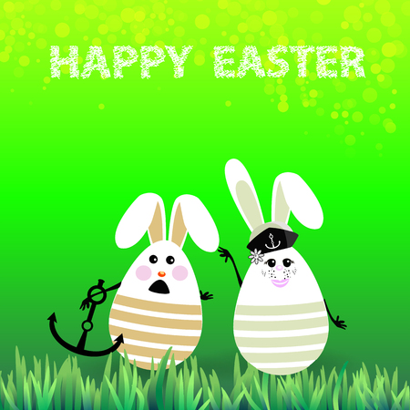 Easter. Rabbits-eggs in the grass on a background of green-arm anchored sailors. Illustration for your design