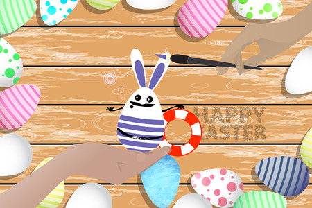 Easter is a perfect illustration for your design. Easter bunny - an egg in the form of a sailor with a lifebuoy in his hands on the background of a wooden table in a pile of painted eggs