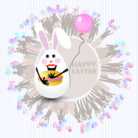 Easter cute illustration. Rabbit-egg with a sober layered hamburger and with a balloon in hand, on a circle background with silhouette people with gifts and with balloons