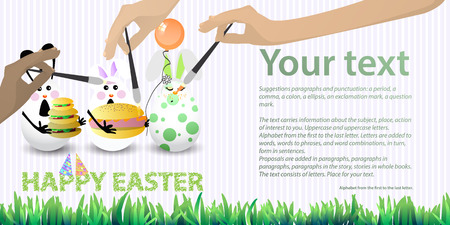 Easter illustration with place for text. Rabbit-eggs with an air ball, burger of three layers and a bun with sausage and mustard in the hands, against a striped horizontally oriented leaf