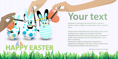 Easter illustration with place for text. Rabbit-eggs with a balloon of air and sugar sweets in their hands, against the background of a striped horizontally oriented leaf