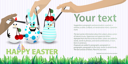 Easter illustration with place for text. Rabbit-eggs with a balloon of air and cherries red in the hands, against the background of a striped horizontally oriented leaf