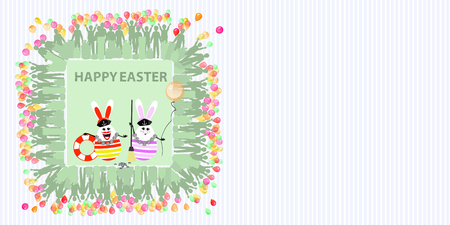 oriented: Easter illustration with place for text. Rabbits sailors with a balloon of air and life buoy and a broom against the background of a striped horizontally oriented sheet and a square frame