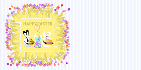 Easter illustration with place for text. Eggs with an air ball, a three-layered burger and a mustard roll with a striped horizontally oriented sheet and a square frame