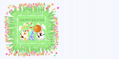 Easter illustration with place for text. Eggs with an air balloon, a circle-ball candy, a sweet-shaped stick and a cap on the background of a striped horizontally oriented sheet and a square frame