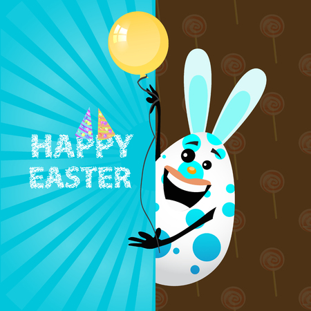 Easter illustration for your design. A funny Easter egg-rabbit with a blue balloon peeks out from behind a sheet of paper. With the inscription Happy Easter Illustration