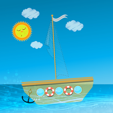 sun s: Children s illustration for your design. The ship sails sails on the waves against the sky with clouds and sun. Use for decoration, printing, design ...