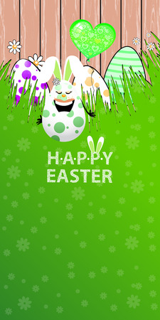 Easter illustration. Vertical orientation for your design. Amusing rabbit eggs with green air ball shaped heart on a background of wooden fence and grass