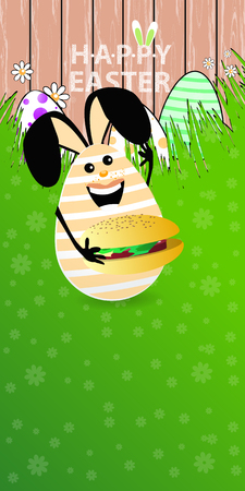 Easter vertical oriented illustration for your design with a place under your text. Cute easter bunny-egg with funny face on a green lawn grass. Tasty big burger with salad and chop