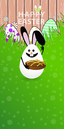 oriented: Easter vertical oriented illustration for your design with a place under your text. Cute easter bunny-egg with funny face on a green lawn grass. Hold the Easter cake