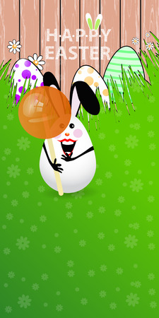 Easter vertical oriented illustration for your design with a place under your text. Cute easter bunny-egg with funny face on a green lawn grass. Bite off a delicious candy.