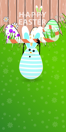 Easter vertical oriented illustration for your design with a place under your text. Cute easter bunny-egg with funny face on a green lawn grass. Keep a striped candy in the shape of a stick over head