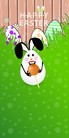 Easter vertical oriented illustration for your design with a place under your text. Cute easter bunny-egg with funny face on a green lawn grass. Candy candy ball sugar in hands