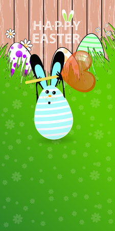 keep your hands: Easter vertical oriented illustration for your design with a place under your text. Cute easter bunny-egg with funny face on a green lawn grass. Keep candy lollipop in the shape of a heart in hands