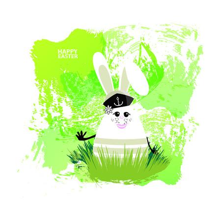 Easter illustration for your design. Cheerful egg-rabbit symbol of a happy Easter on a watercolor background. Isolated on white. Rabbit sailor green, ambush in the grass Illustration