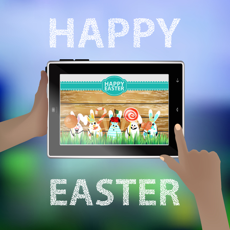 smart card: Easter vector. Illustration for your design. Tablet smart phone in human hands. Funny rabbits - eggs on the background of a wooden fence. Hares with sweets in hand and cherry-headed