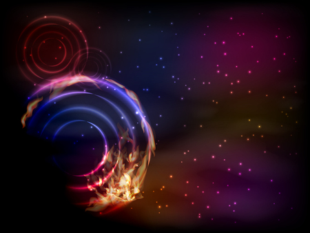 Space. Vector illustration for your design. Beautiful, fantastic and magical. Space landscape. Spiral nebula. A luminous clot in the form of a circle-spiral-shaped. black hole