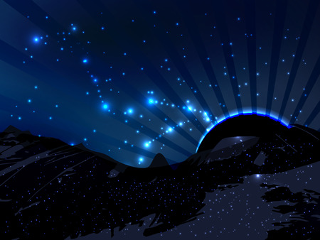 emanate: space. Vector illustration for your design. Beautiful, fantastic and magical. Space landscape. The planet is silhouetted. Rays of light emanate. The constellation in the sky