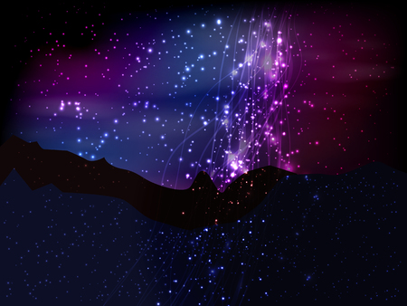 Space. Vector illustration for your design. Beautiful, fantastic and magical. Blue-violet sky and landscape of the planet. Magic cosmic landscape
