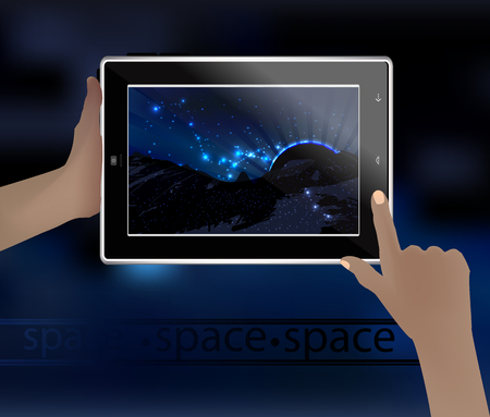 emanate: Space picture in a smart phone. space. Vector illustration for your design. Beautiful, fantastic and magical. Space landscape. The planet is silhouetted. Rays of light emanate. The constellation