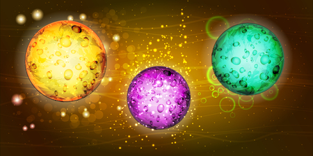 Cosmos bright. Wallpaper for your design. The texture is beautiful. Two planets golden and greenis beautiful. Three planets yellow purple and green