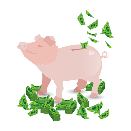 Pig pink money piggy bank with my packs of paper green dollars piles and fly into the hole. Illustration for your design. Illustration