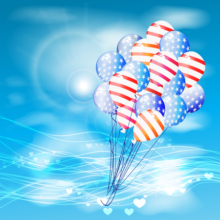 Balloon American flag fly to the festive sky with clouds with a glare. Illustration for your design. Fourth of July. Day of independence. USA Illustration