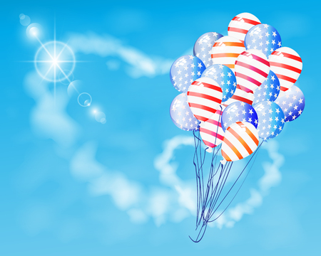 Balloon air American flag fly on a festive sky with clouds in the shape of a heart patriot. Illustration for your design. Fourth of July. Day of independence. USA Illustration